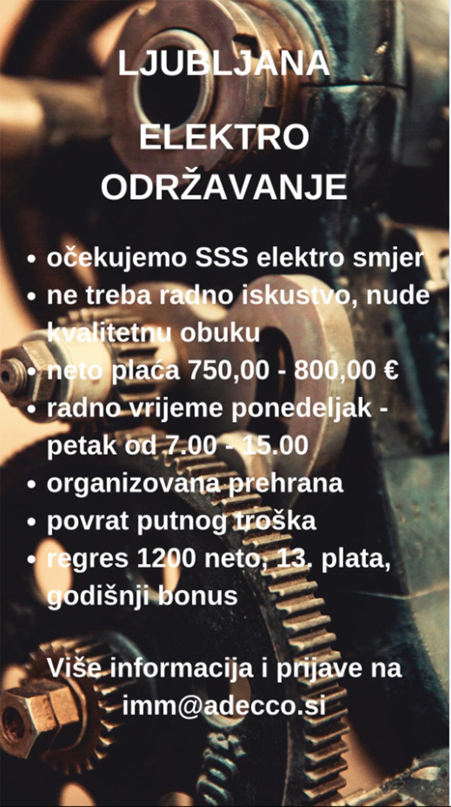 Radnik na održavanju / Električar (m/ž)