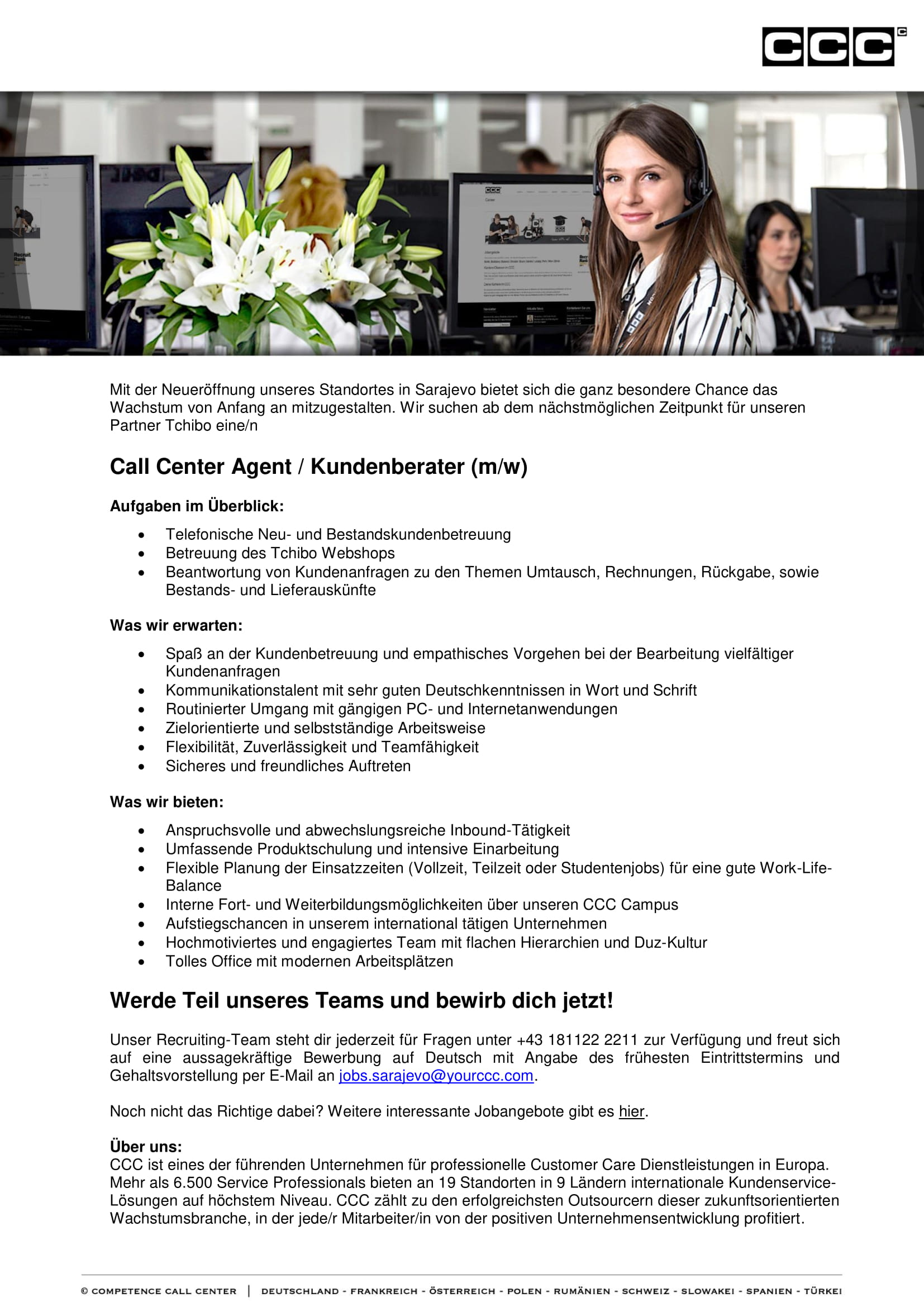 Call Center Agent / Kundenberater (m/w)