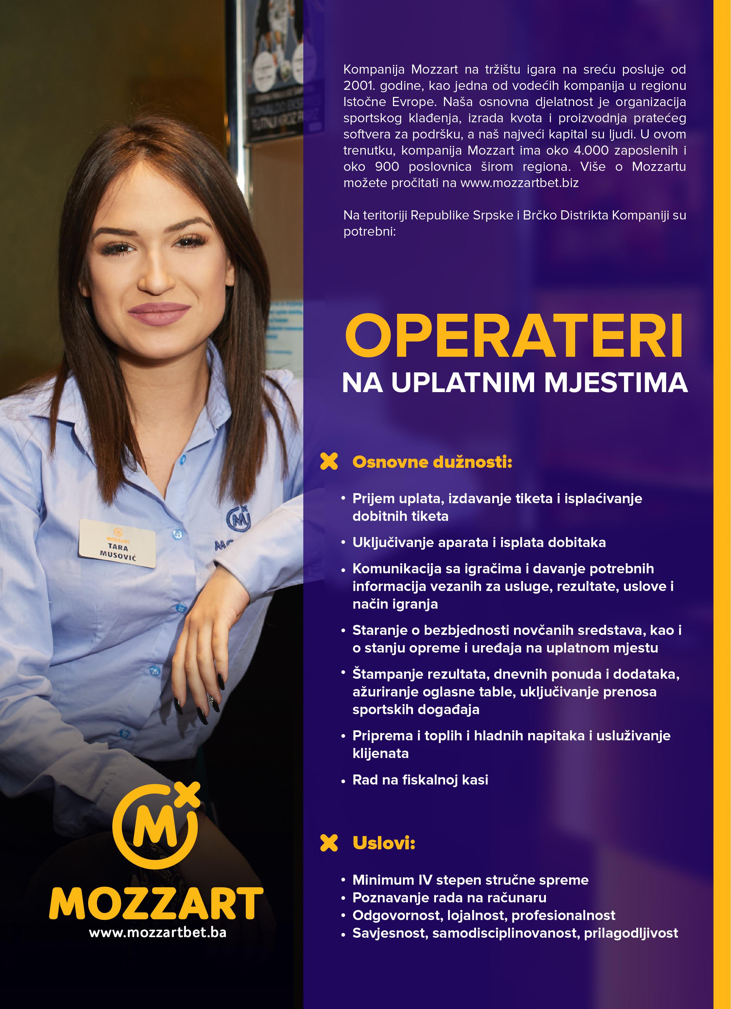 Operateri na uplatnim mestima (m/ž)
